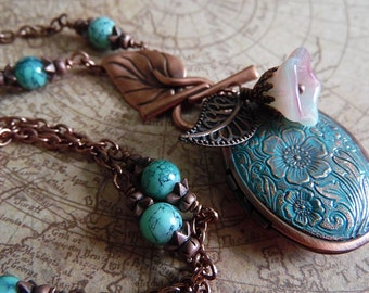 Locket Necklace, Turquoise Patina Antiqued Copper Locket and Fancy Glass