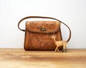 vintage 70s Acorns & Leaves Tooled Leather Purse Handbag