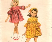 1960s Butterick 4114 Vintage Sewing Pattern Girl's High Waisted Dress, Panties and Kerchief or Scarf Size 5