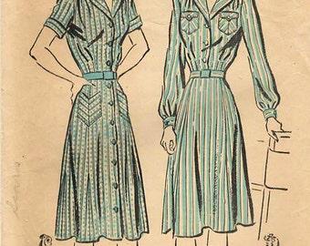 1940s Advance 9621/3001 Vintage Sewing Pattern Misses Shirtwaist Dress, Spectator Dress, Coat Dress Size 14 Bust 32