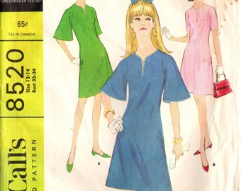 1960s McCall's 8520 Vintage Sewing Pattern Misses Dress Size 12 - 14 Bust 32 - 34