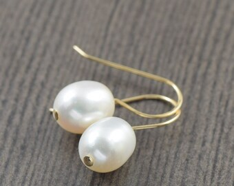 Valentine's Day gift Bridal jewelry White pearl earrings gold filled earrings wedding jewelry gifts for her (1-6 pairs)