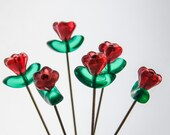 Glass Flower Pin Topper - Set of 6 medium -large