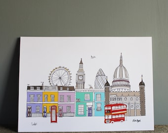 London Skyline Print Colour - Illustration - A4