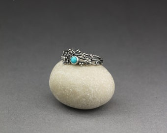 Twig ring - turquoise in silver, limited collection