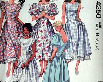 Misses' Dress And Petticoat, Vintage 80's 4250 McCall's Sewing Pattern, Size 8-10-12, Bust 31.5-32.5-34, Uncut FF, 1980's Fashion Basics
