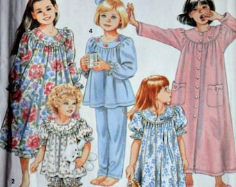McCall's 8093 Sewing Pattern, Girls' Nightgown, Robe And Long Or Short Pajamas, Sizes 3-4-5-6, Uncut Factory Folded