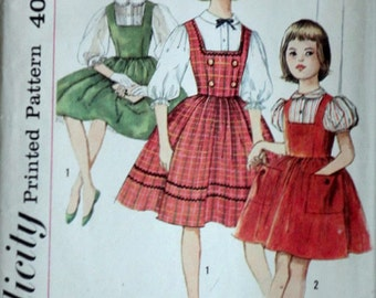 Simplicity 3608 Vintage 60's Sewing Pattern, Girl's Blouse and Jumper, Size 12, 30 Breast