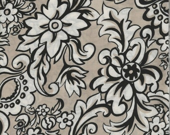 Black/Tan/Cream Floral Quilt Fabric 100% Cotton - 1 Yard