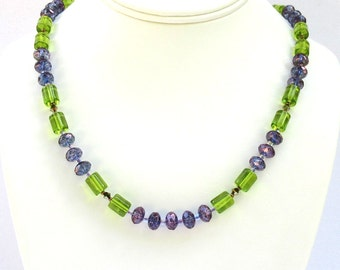 Czech Fire Polished Glass and Swarovski Crystal Necklace - 19.75 inches