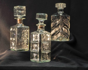 Vintage barware - three textured decanters