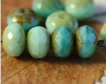 TURQUOISE MINT MIX ..10 Premium Picasso Czech Glass Rondelle Beads 6x8mm (4105-10)