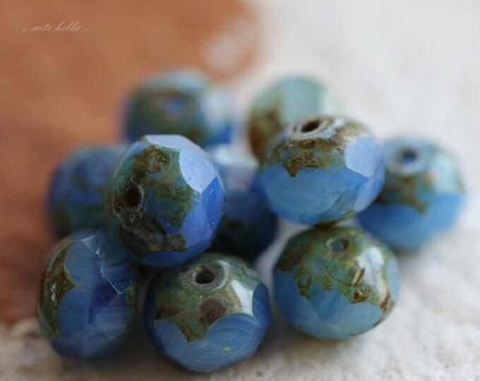 SALVIA .. 10 Premium Picasso Czech Glass Beads 6x9mm (4664-10)