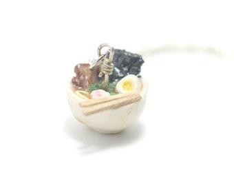 Ramen Bowl Necklace, Miniature Food Jewelry, Polymer Clay Food Jewelry