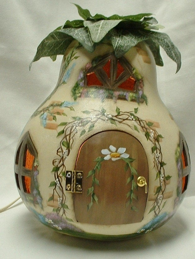 Gourd Light Up Fairy Spring Garden Cottage Hand Painted