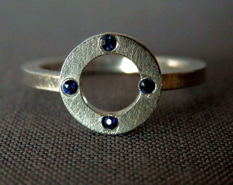 Circle sapphire ring / blue sapphire ring / September birthstone ring / sapphire jewelry / ready to ship / modern engagement ring