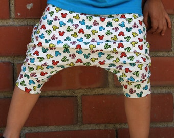 Ready to Ship! Baby Boy Baby Girl Colorful Mickey Mouse Harem Shorts: Etsy kid's fashion, toddler boy toddler girl, disney, disney pants