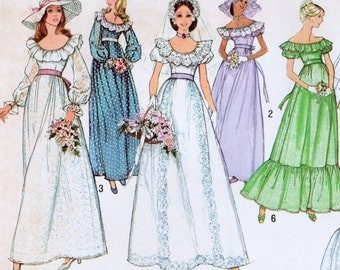 Vintage Simplicity 7937 Misses 1974 Wedding or Bridesmaid Dress Sewing Pattern Size 12 Bust 34