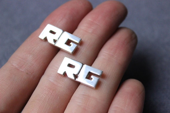 Initials Cufflinks - Wedding Cufflinks, bride to groom gift - Letter Cufflinks Monogram in sterling silver