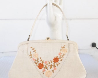 1960s Vintage Oatmeal Linen Purse with Embroidered Flowers