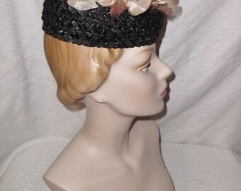 1960s Vintage Black Pillbox Hat with Mauve Flowers
