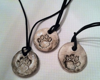 Gift for Animal Lovers Paw Print Ceramic Pottery Necklace Pendant Essential Oil Jewelry Diffuser Necklace Aromatherapy