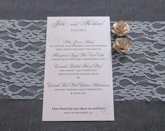 Blush Pink Wedding Menu - Traditional, Classic, Formal - Custom - Julie and Michael