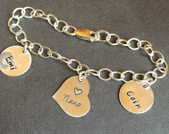 Sterling Silver Charm Bracelet with 3 charms - I Heart This