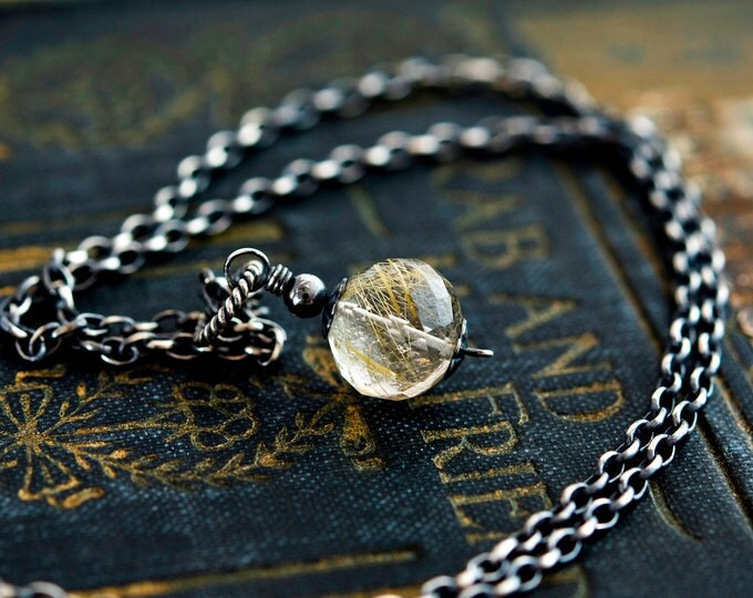 Rutilated Quartz, Quartz Necklace, Rutilated Gold, Golden, Quartz Pendant, Gemstone Pendant, Gemstone Necklace, Sterling Silver, PoleStar