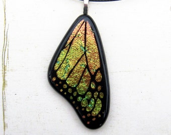 Fused Glass Jewelry | Butterfly Wing Art | Cute Yellow Charm | Monarch Butterfly | Bright Color Jewelry | Artisan Crafted Gift