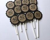 40 Rocks - 40th Birthday Cupcake Toppers, Kraft Brown and Black, Set of 12