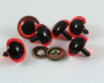 Toy Safety eyes 24mm Amber animal eyes with washers available in packs of 6 eyes and 6 washers