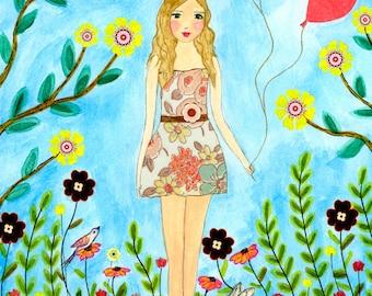 Nursery Art - Nursery Decor -  Princess Painting - Wooden Art Block - Girls Room Decor - Woodland Nursery Prints - Children Decor