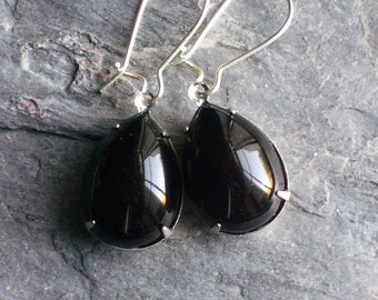 Black teardrop earrings, black glass jewel earrings, estate style earrings, gift ideas for her, christmas gifts for her, black earrings