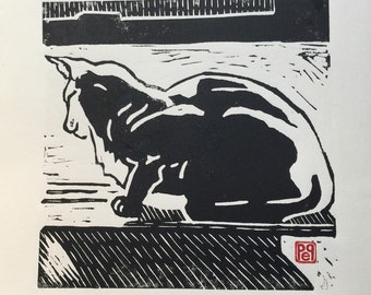 Cat in the Window, Linocut Artist Print, original block print