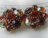 Amber Brown Rhinestone Earrings, clip on button style vintage costume jewelry