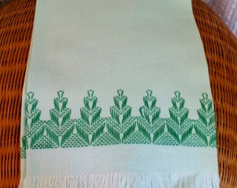 Guest Towel Swedish Needle Weaving, mint green hand embroider, vintage