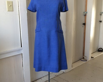 1960s Royal Blue Mod Scooter Linen Dress Short Sleeves Size Large Xlarge
