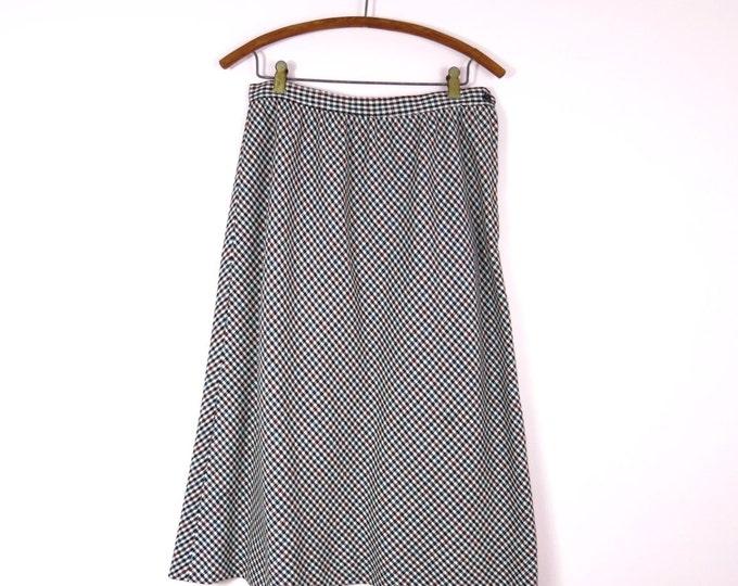 Vintage Wool Skirt - 1970s Black & White Prestige Wool Skirt Size M