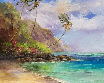 TROPICAL BLISS Framed Original Oil Painting Art Hawaii Tahiti South Pacific Tropics Ocean Island Palm Trees Mountain Paradise Maui Kauai