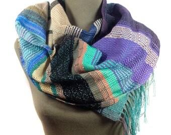 Pippi | Handwoven Luxury Modern Scarf | Hyacinth, Mint & Cornflower Scarf | Woven Women's Fashion | Purple and Mint Striped Bufanda | F85