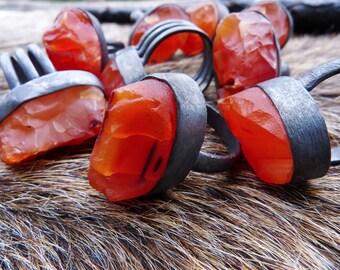 Raw carnelian ring | Rough stone ring | Boho ring | Carnelian crystal ring | Gypsy ring | Orange stone ring | Brazilian jewelry