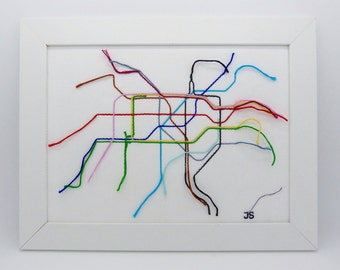 London tube map, Underground map - Free motion machine embroidery framed picture. London map.