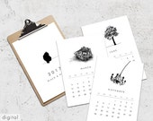 Black & White Wall Calendar 2017 Monthly Printable Calendar Minimalist Design 12 Months Letter Tabloid A3 A4 Size Printable Office Art Decor