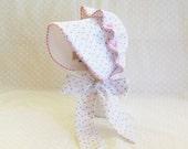 Baby Sun Bonnet Button Bonnet - Rosebud Seersucker pink gingham piping lined with white seersucker