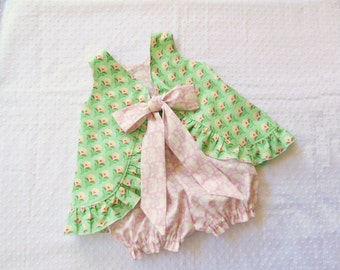 Ruffled Bow Back Swing Back Pinafore Top Bloomers Set baby or toddler - 3 mos to size 4 - Buttercups pink and green - Clementine Collection