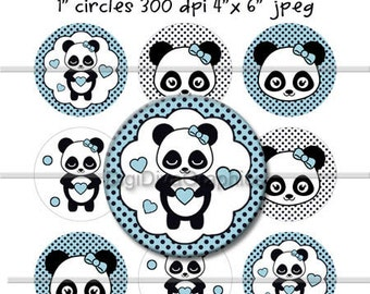 Panda Girl Polka Dot Bottle Cap Images 1 Inch Circles Digital JPG - Instant Download - BC1024