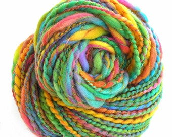 Handspun Yarn Hand Dyed Merino Wool Yarn 133 yards Bulky Yarn Art Yarn Rainbow Yarn - Summer Garden