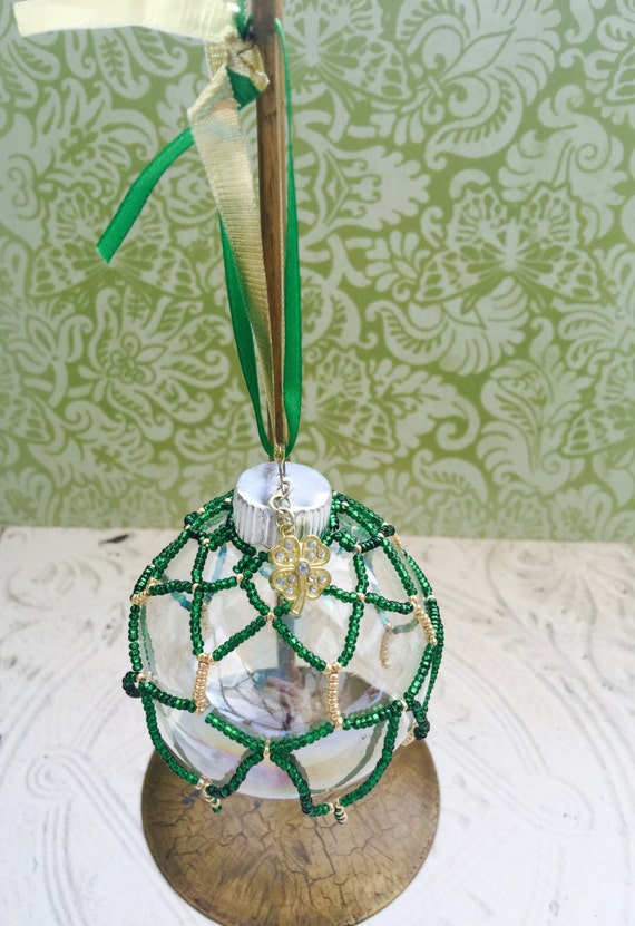 St. Patrick's Day Irish Themed Beaded Ornament Gold Green Rhinestones Handmade Unique Four Leaf Clover Charm Gift Box Christmas Ireland