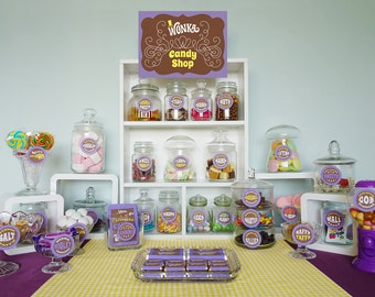 Wonka Candy Buffet signs, candy jar labels, Wonka Bar candy wrappers, Willy Wonka birthday party complete DiY printable party kit PuRPLe